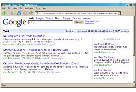 Figure 1: In a Google search, the AdWords ads are displayed at the right.
