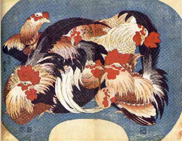 Flock of Chickens, by Hokusai