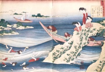 Sangi Takamura. Women diving for abalone, by Hokusai