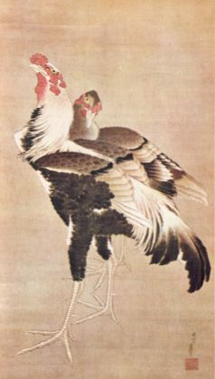 Cockfighting, by Hokusai