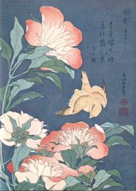 Peonies and Canary, by Hokusai