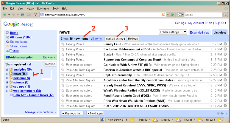 FAQ: How to use RSS Readers: Selecting a Folder