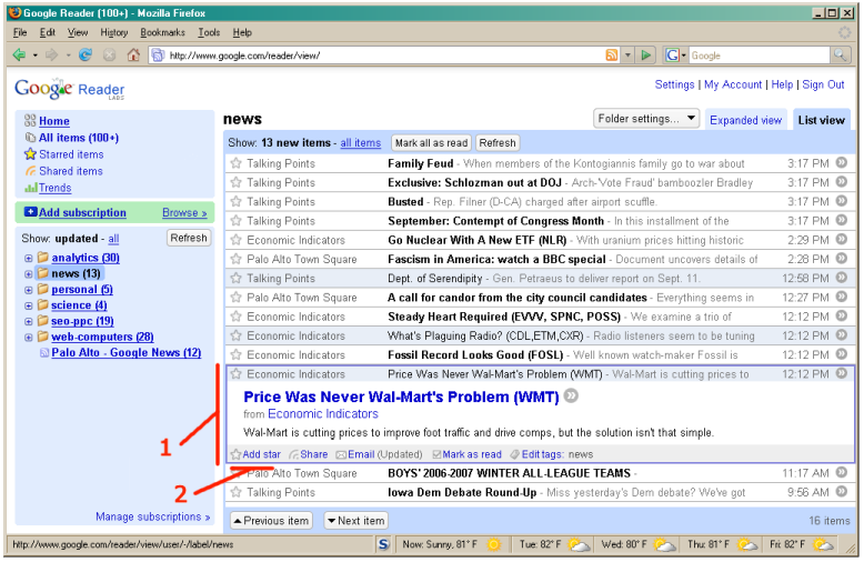 FAQ: How to use RSS Readers: Selecting an Item for a Closer View